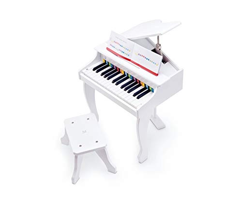Hape Deluxe White Grand Piano | Thirty Key Piano Toy with Stool,...