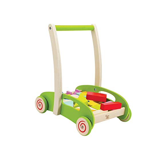 Hape Block and Roll Cart Toddler Wooden Push and Pull Toy...