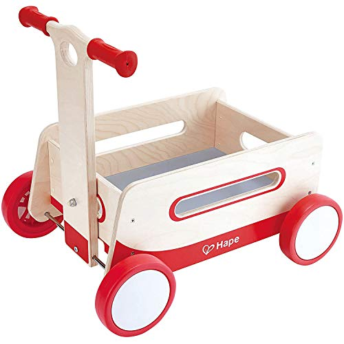 Hape Red Wonder Wagon Wooden Push and Pull Toddler Ride On Balance 4...