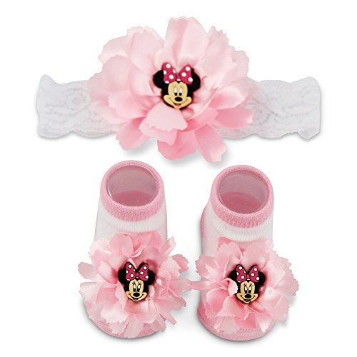 Disney Baby Girls' Minnie Mouse Polka Dot Headwrap and Booties Gift...