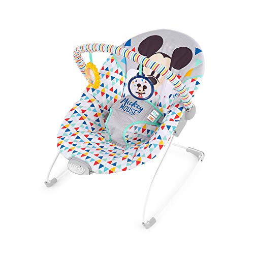 Disney Mickey Mouse Happy Triangles Cradling Bouncer with Soothing...