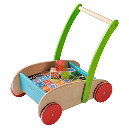 EverEarth Childrens Wooden Walker with Blocks EE33721,Multi