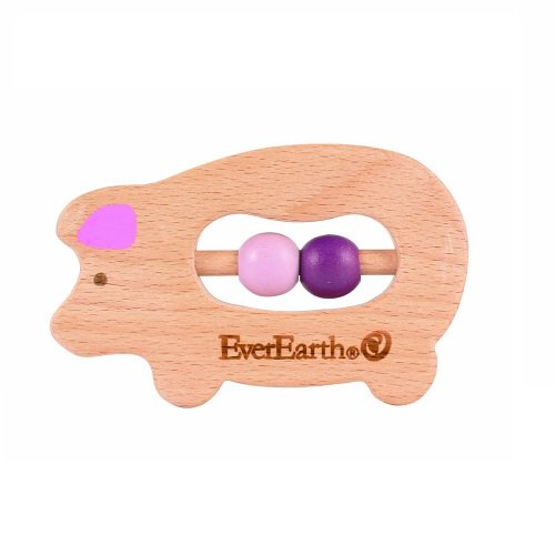 EverEarth Eco Friendly Wooden Baby Toy: Hippo Grasper/Teether/Rattle