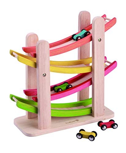 EverEarth Jr. Ramp Racer. Race Track for Toddlers and 4 Wood Cars,...