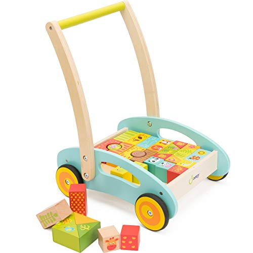 cossy Wooden Baby Learning Walker Toddler Toys for 1 Year Old Forest...