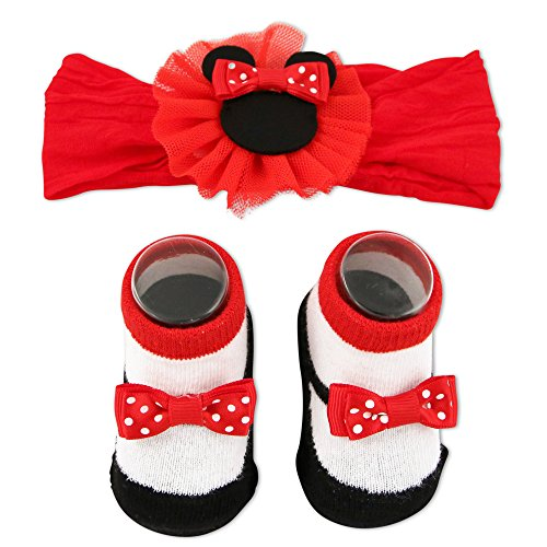 Disney Baby Girls Minnie Mouse Headwrap and Booties Gift Set, red,...