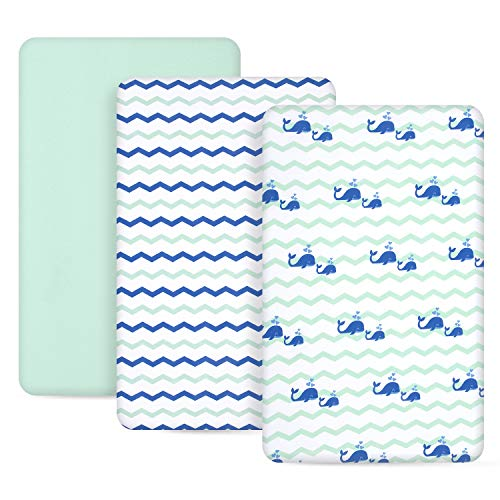 TILLYOU 3 Pack Jersey Knit Pack N Play Sheets, 170 GSM Thicker Softer...