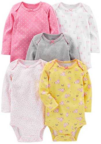 Simple Joys by Carter's Baby Girls' 5-Pack Long-Sleeve Bodysuit, Pink,...