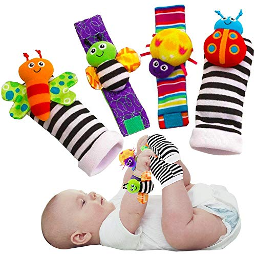 Blige SMTF Cute Animal Soft Baby Socks Toys Wrist Rattles and Foot...