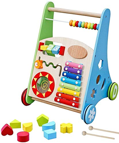 Pidoko Kids Block and Roll Cart - Wooden Push and Pull Baby Walker...
