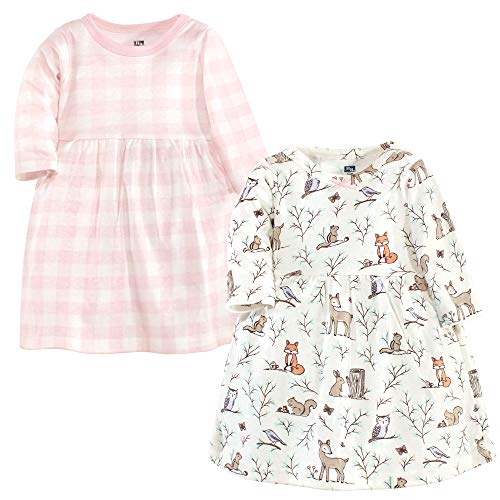 Hudson Baby Girl's Cotton Dresses, Enchanted Forest, 0-3 Months