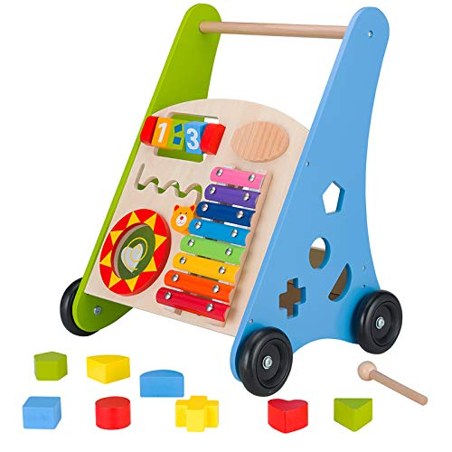 KIDS TOYLAND Wooden Baby Push Walker, Push and Pull Learning Toys for...
